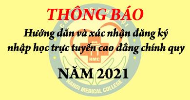 Cao đẳng Y Hà Nội thông báo hướng dẫn nhập học trực tuyến cao đẳng chính quy 2021